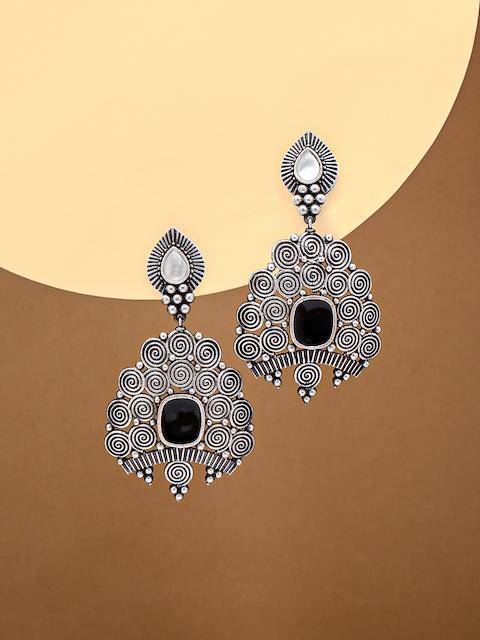 justpeachy Silver-Toned & Black Oxidised Drop Earrings