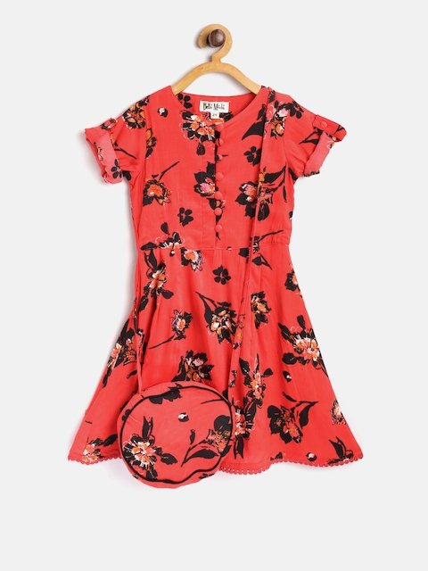 Bella Moda Girls Red & Black Printed Fit & Flare Dress