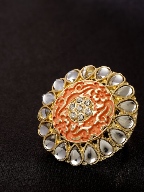 Priyaasi Peach-Coloured Gold-Plated Kundan-Studded Hand Painted Adjustable Ring
