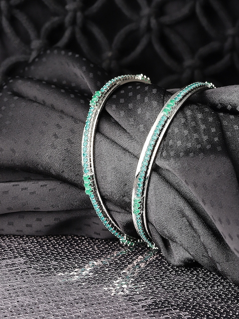 Priyaasi Set of 2 Green Silver-Plated Stone-Studded Handcrafted Bangles