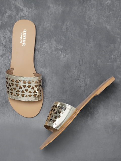 Anouk Women Gold-Toned Solid Open Toe Flats with Laser Cuts Detail