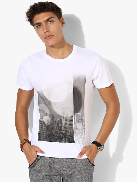 SELECTED White Printed Regular Fit Round Neck T-Shirt