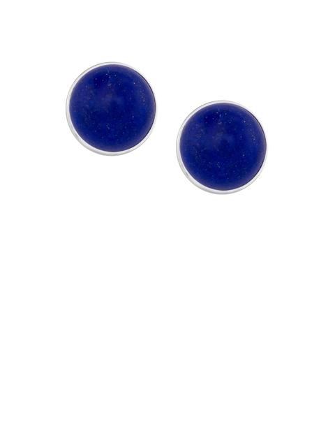 TALISMAN Silver-Toned & Navy Blue Circular Studs