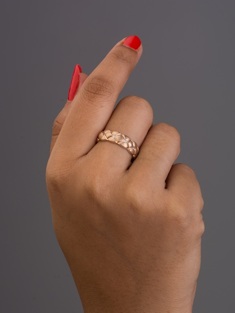 TALISMAN Rose Gold-Plated Handcrafted Circular-Shaped Embbeded CZ-Stones Ring