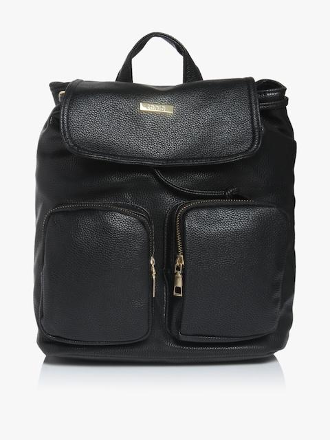 ToniQ Black Leather Backpack
