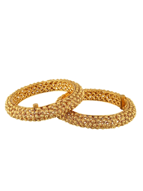 Adwitiya Collection Set of 2 24k Gold-Plated Antique Bangles