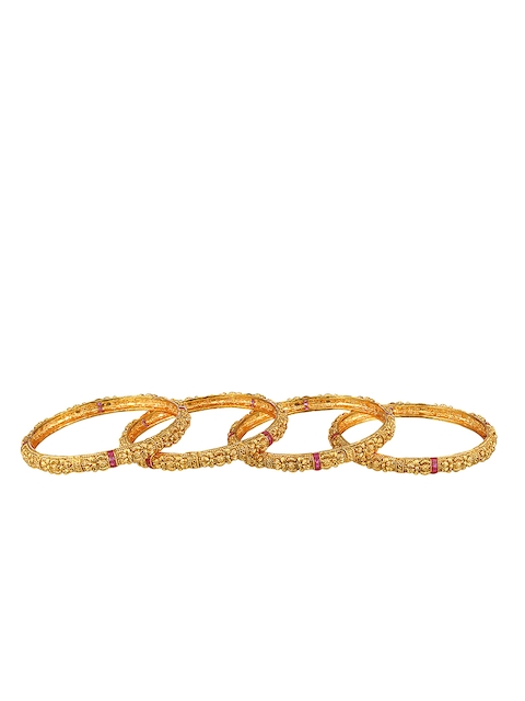 Adwitiya Collection Set of 4 24k Gold Plated Antique Bangles