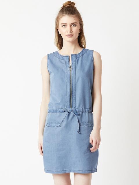 Miss Chase Women Blue Solid Sheath Dress