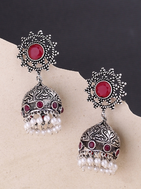 Voylla Silver-Plated & Red Dome Shaped Jhumkas