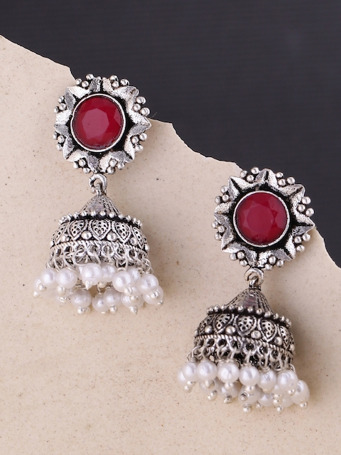 Voylla Red Silver-Plated Handcrafted Contemporary Jhumkas