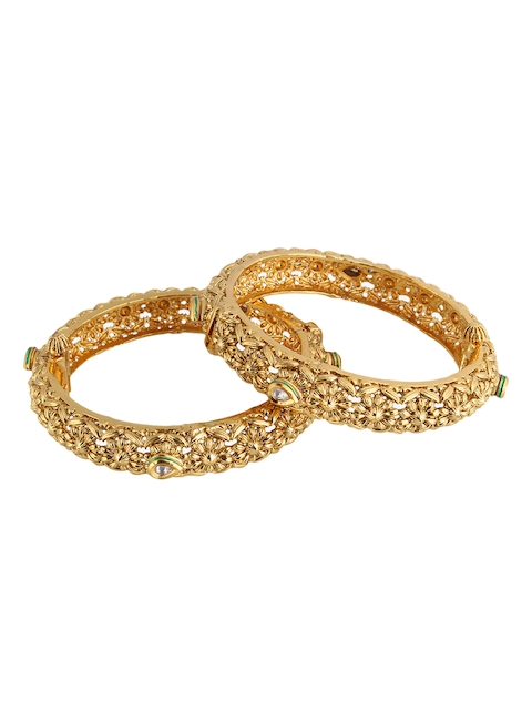 Adwitiya Collection Set Of 2 Gold-Plated Embellished Bangles
