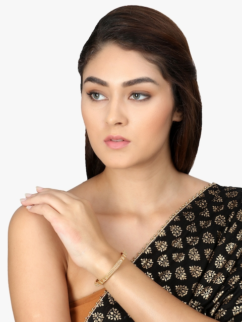 Adwitiya Collection Set Of 2 Gold-Plated & Beige Embellished Designer Bangles