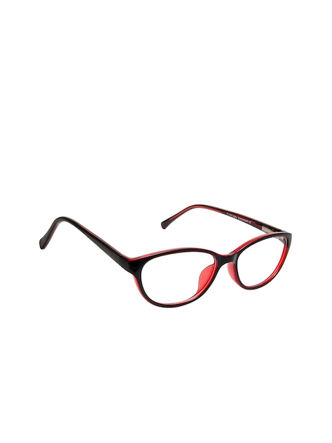 Cardon Unisex Black & Red Solid Full Rim Oval Frames EWCD2292MGT8801MBLK