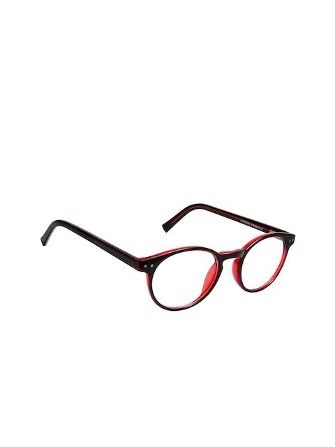 Cardon Unisex Black & Red Colourblocked Full Rim Round Frames EWCD2311MGT8809BLK