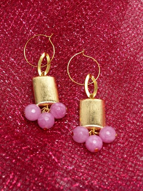 PANASH Gold-Plated Pink Spherical Drop Earrings