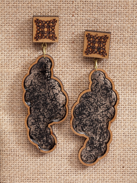 PANASH Black & Brown Handcrafted Wooden Contemporary Drop Earrings