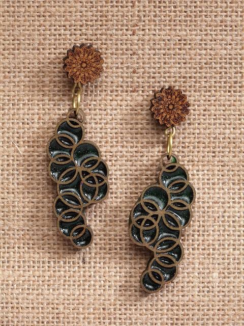 PANASH Brown & Green Quirky Drop Earrings