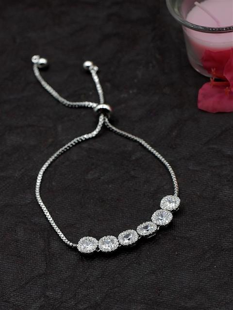 Sia Art Jewellery Silver-Plated CZ Studded Link Bracelet