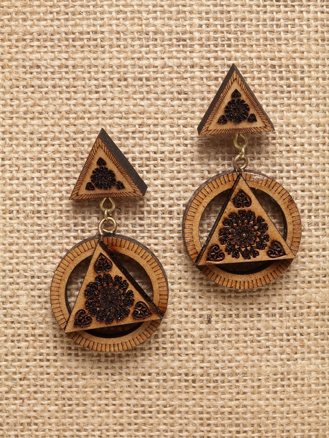 PANASH Brown Circular Drop Wooden Earrings