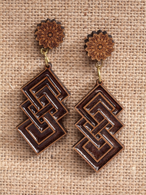 PANASH Brown Quirky Handcrafted Drop Earrings