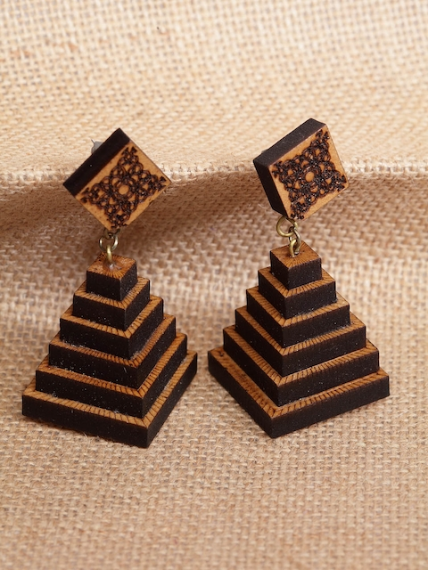 PANASH Brown Quirky Drop Wooden Earrings