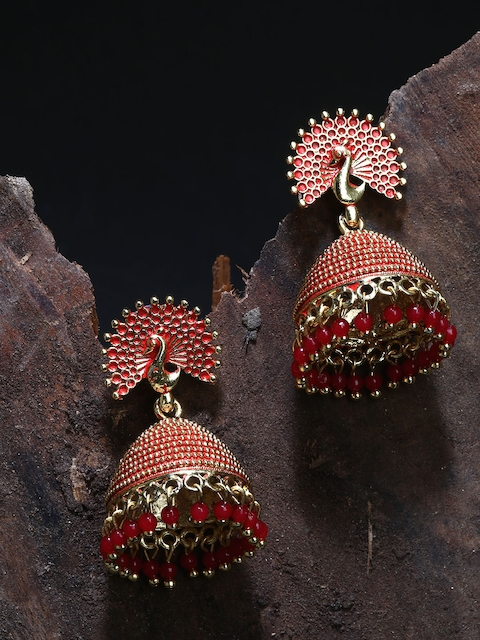 ANIKAS CREATION Gold plated & Red Peacock Shaped Enamelled Jhumkas