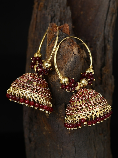 ANIKAS CREATION Maroon & Gold-Plated Enamelled Dome Shaped Jhumkas
