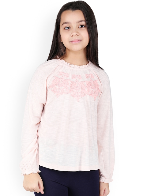 One Friday Girls Pink Self Design Top