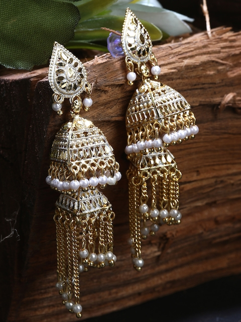 ANIKAS CREATION White & Gold-Plated Enamelled Dome Shaped Jhumkas