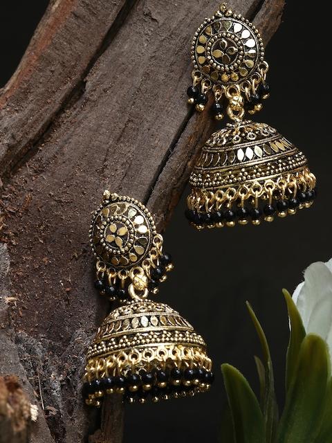 ANIKAS CREATION Gold Plated & Black Enamelled Dome Shaped Jhumkas