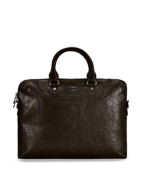Eske Men Brown Solid Leather Laptop Bag