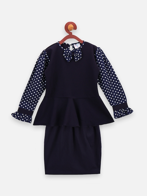 LilPicks Girls Navy Blue Solid Top with Skirt