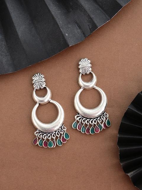 Shoshaa Silver-Plated  & Green Classic Drop Earrings