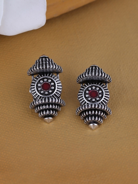 Voylla Silver-Toned & Red Classic Studs