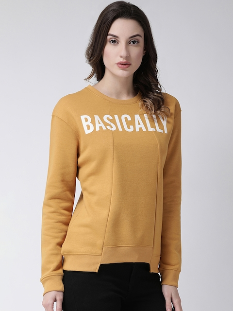 Club York Women Mustard Yellow & Off-White Printed Sweatshirt