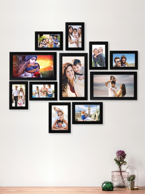 RANDOM Set of 11 Black Solid Synthetic Collage Photo Frames
