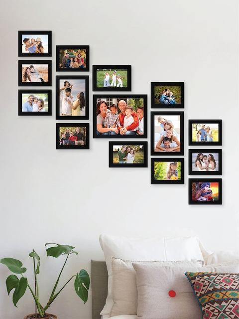 RANDOM Set of 15 Black Solid Synthetic Collage Photo Frames