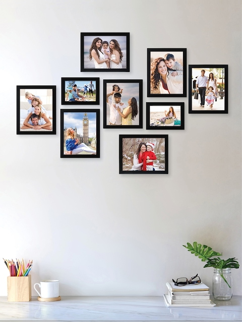 RANDOM Set of 9 Black Solid Synthetic Collage Photo Frames
