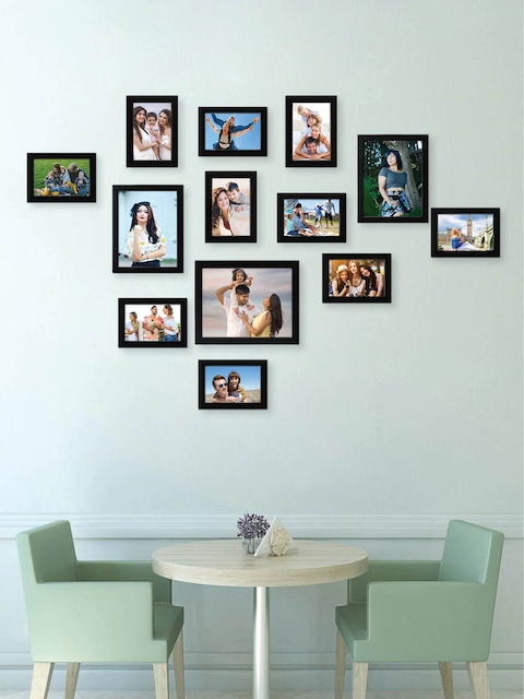 RANDOM Set of 13 Black Solid Synthetic Collage Photo Frames