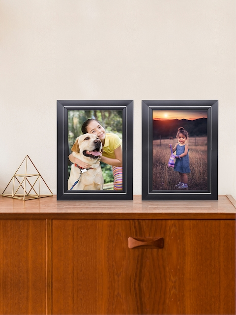 RANDOM Set of 2 Brown and Silver Toned Solid Photo Frames