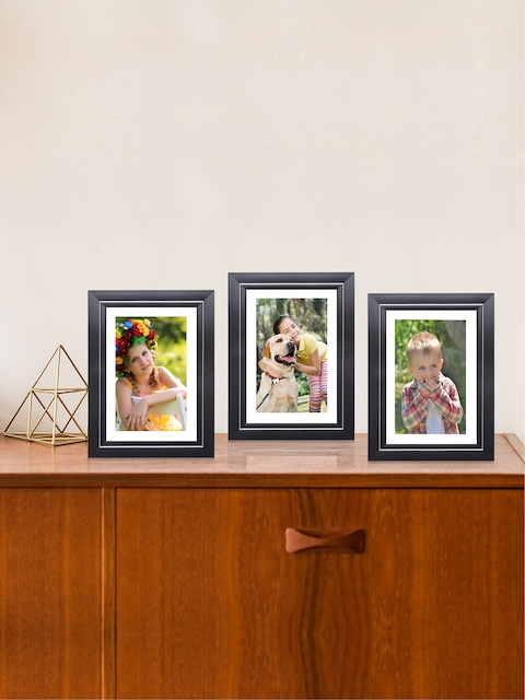 RANDOM Set of 3 Black & Silver-Toned Solid Rectangular Table-Top Photo Frames