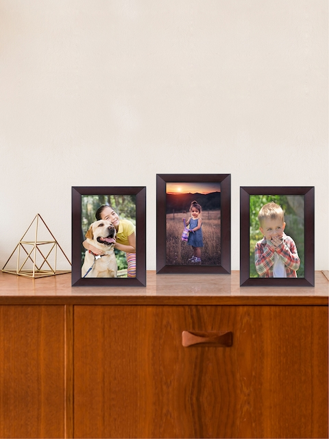 RANDOM Set of 3 Coffee Brown Individual Table-Top Solid Photo Frames