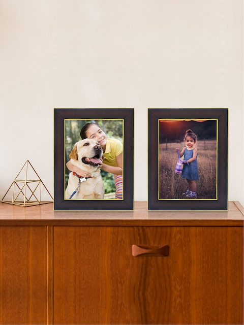 RANDOM Set of 2 Brown & Gold-Toned Solid Rectangle Photo Frame