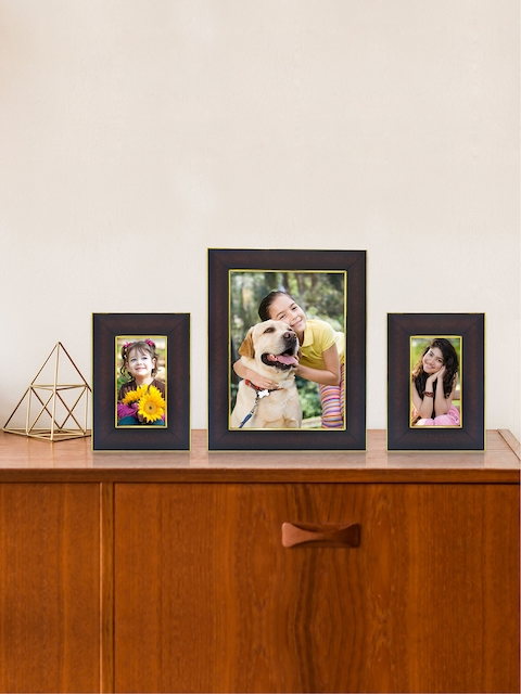 RANDOM Set of 3 Brown & Gold-Toned Solid Rectangle Photo Frames