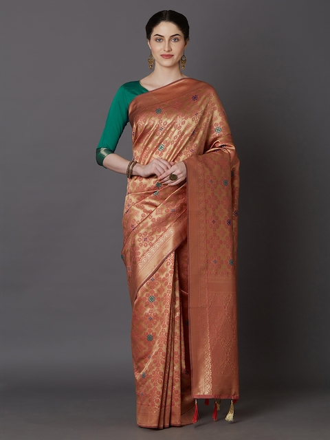 Mitera Orange Silk Blend Woven Design Kanjeevaram Saree