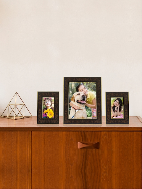 RANDOM Set of 3 Camel Brown Synthetic Individual Table-Top Collage Photo Frames