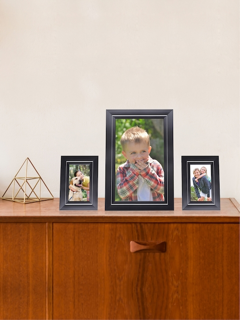 RANDOM Set of 3 Brown Synthetic Individual Table-Top Collage Photo Frames