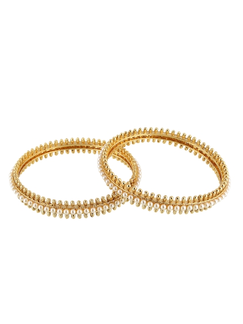 Adwitiya Collection Adwitiya Set of 2 Off-White Pearl Embellished Gold-Plated Handcrafted Bangles