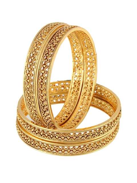 Adwitiya Collection Women Set of 4 24 kt Gold-Plated Handcrafted Bangles
