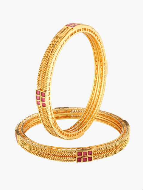 Adwitiya Collection Women Set of 4 24 kt Gold-Plated Stone Studded Handcrafted Bangles
